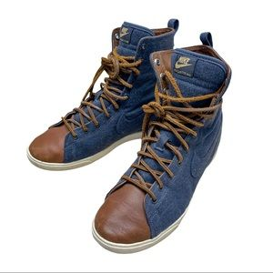 Nike Racquette Mid Denim Leather Lace Up Woman 7.5